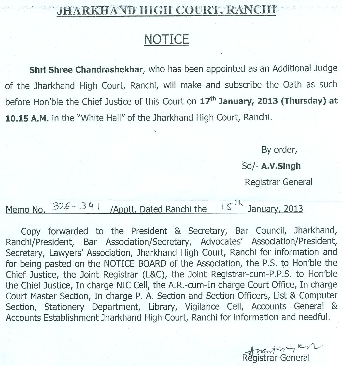 Notice Regarding Oath Ceremony on 31th January 2013 ...